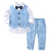 European Style 3 PCS Baby Boy Gentlemen Kids Outfits Tshirt+Striped Vest+Pants Formal Outfits Boy′s Spring Set Kids Clothing Fashion Wedding