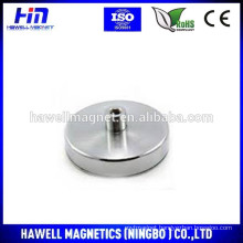 silvery color nickel plated Pot magnet, neodymium pot magnet, strong pull force ROHS