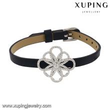74630 Pulsera de joyería de circón cúbico de la nueva llegada de la moda en cuero negro