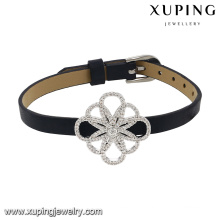 74630 Fashion New Arrival Cubic Zircon Jewelry Bracelet in Black Leather