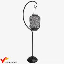 Lampe blanche en détresse en métal Lantern Floor Stand