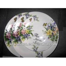 Assortiment de plat plat de porcelaine de fleurs Haonai, ensemble de vaisselle blanc
