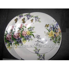 Haonai flower porcelain dinner flat plate sets,white dinnerware set