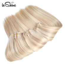 100 extensões de trama desenhadas humanas do cabelo do Virgin da qualidade de 100 melhores europeus extensões do cabelo de Remy do russo