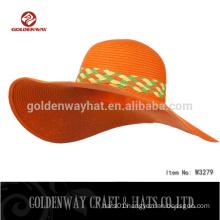 Woman's 0.8 orange color Paper Straw Braid Floppy Brim Hat