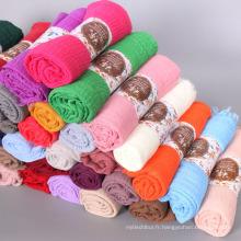 Vente chaude stocké 75 couleurs châles écharpe islamique musulman femmes premium coton crimple froisser hijab