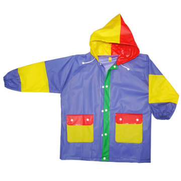 Kids Hooded Pvc Rainwear with Pocket