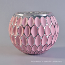 Wholesale Small Round Pink Jar Mosaic Glass Candle Holder