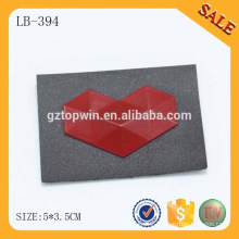 LB394 Custom Embossed heart Metal Logo Leather Metal Patch