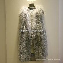 Wholesale tibétain mongol mou cheveux fourrure véritable gilet d'agneau