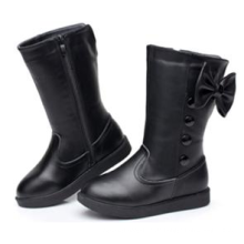 Neueste Kinder Mädchen echt Leder Reißverschluss Gummi lange Stiefel Schuhe