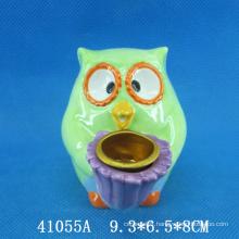 Lovely owl ceramic animal candle holder