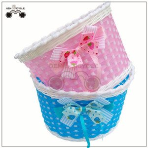 hand-made small colorful basket for children's bike