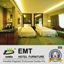 Стеклянная изголовье и современный комплект мебели для спальни (EMT-B1202)