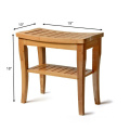 Bamboo Shower Seat Bench with Shelf - Wooden Bathroom Seat Stool | Spa Chair for Indoor or Outdoor Use