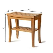 Banco de asiento de ducha de bambú con repisa - Taburete de asiento de baño de madera | Silla de spa para uso interior o exterior