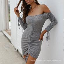 Superstarer Best Selling Fashion Club Drawstring Short Dresses Sexy Women off The Shoulder Night Wear Sexy Women Dress