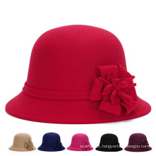 Fashion Women Flower Cotton Polyester Knitted Winter Bucket Hat (YKY3246)