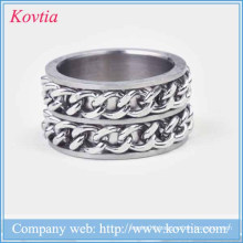 New arrival titanium steel double iron chain ring steel jewelry 2015