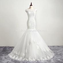 2016 nouveau design en dentelle de manchon de stock sexy femmes robe de mariée avec flowring fishtail