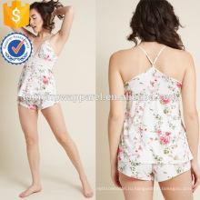 Пестротканый напечатанный кружева V-образным вырезом спагетти ремень Пижама Производство Оптовая продажа женской одежды (TA0001P)