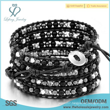 5 layers black Bohemia wrap bracelet,wrap leather bead around bracelets