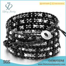 5 слоев черный браслет обертывания Богемии, оберните кожаную бусину вокруг браслета