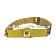 Cinturones de cuero amarillo y elástico de las mujeres de la manera