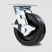 H13 Tipo de travão lateral tipo de serviço pesado Rolamento de roda dupla Rodízio de roda de alta resistência