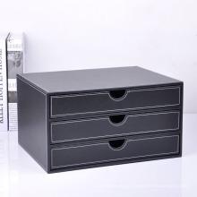 Caja negra de archivos de escritorio PU con cajones