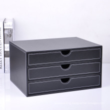 Black PU Desktop File Box with Drawers