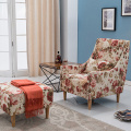 High Back Fabric Upholstery Armchair And Ottoman