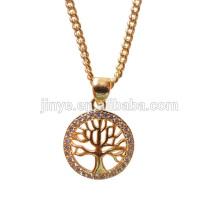 18k Золотой заполнить дерево жизни ожерелье Кулон