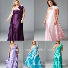 Plus Size Satin One Schulter Bogen Eine Linie Pinsel Zug Party Kleid Abendkleid