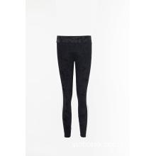 Black velvet slim trousers jogger pants
