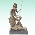 Statue en laiton antique Statue de soldat de soldat de soldat à la maison Tpy-306