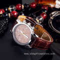 Leather Leisure Quartz Battery Watch Made in China Gold(linying)
