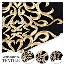 Poliéster floral ouro popular reuniram-se tecido de veludo reunido para vestuário