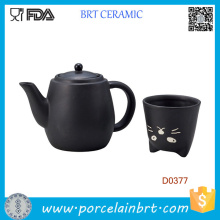 Japan Black Cat Ceramic Tea Pot and Tea Cup