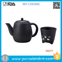 Bule e Xícara de Chá em Cerâmica Gato Preto do Japão