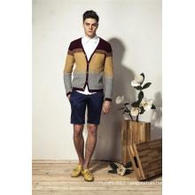 100%Cotton Spring V-Neck Knit Men Cardigan Sweater with Button