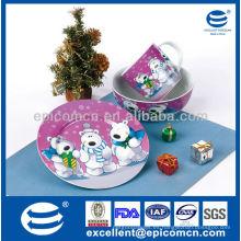 Plato y tazón de fuente de cerámica de la placa de los dinnerware del fiestaware de la porcelana al por mayor para el desayuno-BC8083 de los niños