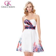Grace Karin 2017 Vestido sin tirantes de la boda del patrón de flor del vestido de partido de la dama de honor del cortocircuito de la gasa 7 tamaño los EEUU 4 ~ 16 GK000132-1