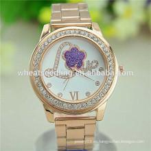 Reloj de cuarzo del diseño de la tendencia del amor de la aleación del oro de la flor del nuevo diseño 2015
