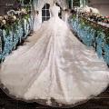 LS00166 O-neck capa moldura appliques pérola elegante peplum longo trem gordo senhoras vestido de noiva personalizado