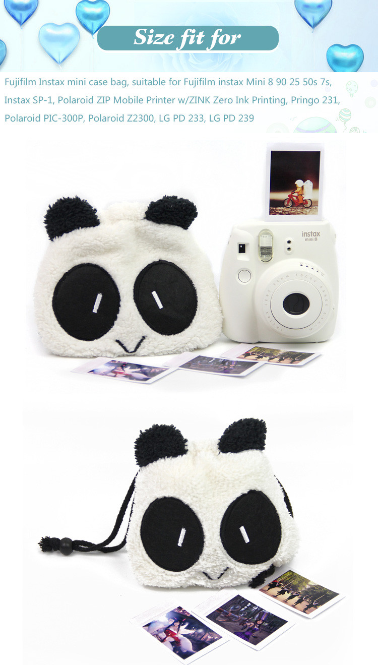 Panda Camera Drawstring Bag Detail