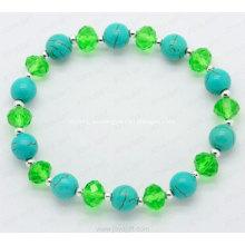 Pulsera de cristal de piedras preciosas semipreciosas de turquesa.