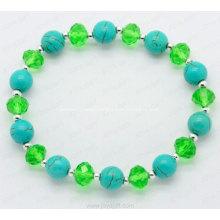 Turquoise semi precious gemstone crystal bracelet charm bangle