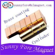 Диаметр 6 мм x L12mm сильный магнит с латунь покрытием