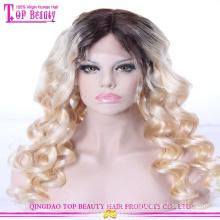 Atacado qingdao cor # 1b / # 613 ombre peruca dianteira do laço do cabelo humano virgem brasileiro